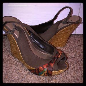 Charlotte Russe Wedge Peep Toe Sandal
